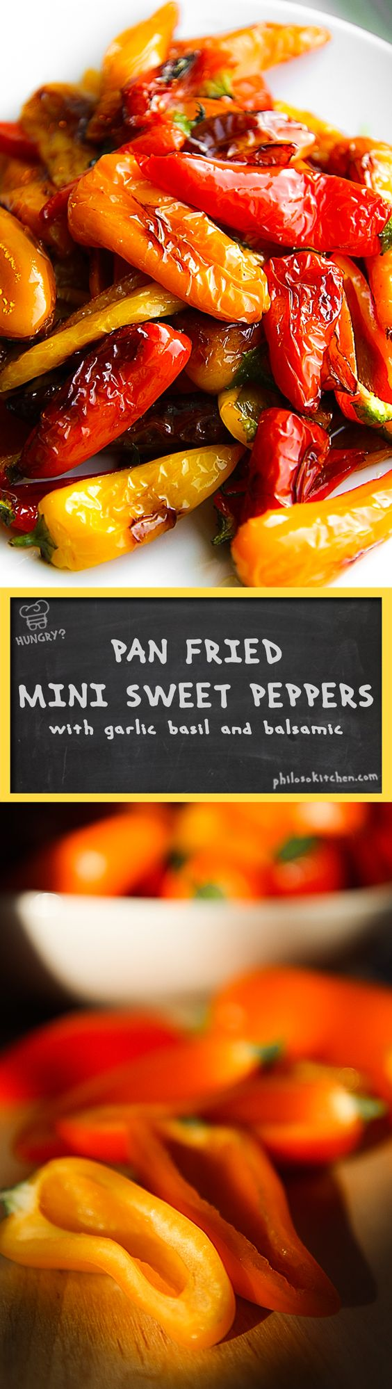 PAN FRIED SWEET MINI PEPPERS with basil leaves and balsamic vinegar I prepared the sweet mini peppers with basil, garlic and balsamic vinegar, then I let them rest covered overnight in the fridge. The pan fried sweet mini peppers are perfect to be tasted with bread crostini, but next to roasted sausages or with a delicious slice of aged Pecorino cheese and cured meats as well. - vegetarian recipe side appetizer salad