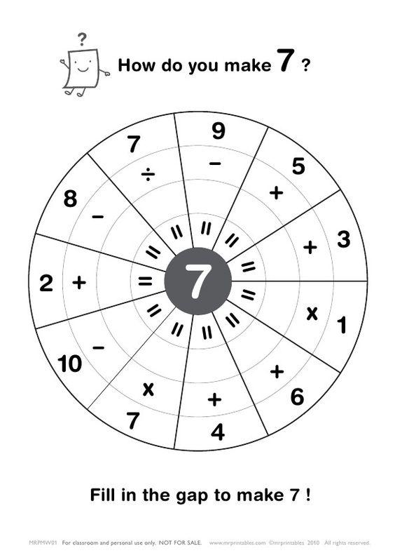 Hoe maak je 7? Vul het gaatje op.