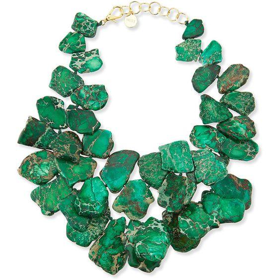Nest Chunky Emerald Jasper Necklace - Emerald (1.290 RON) found on Polyvore
