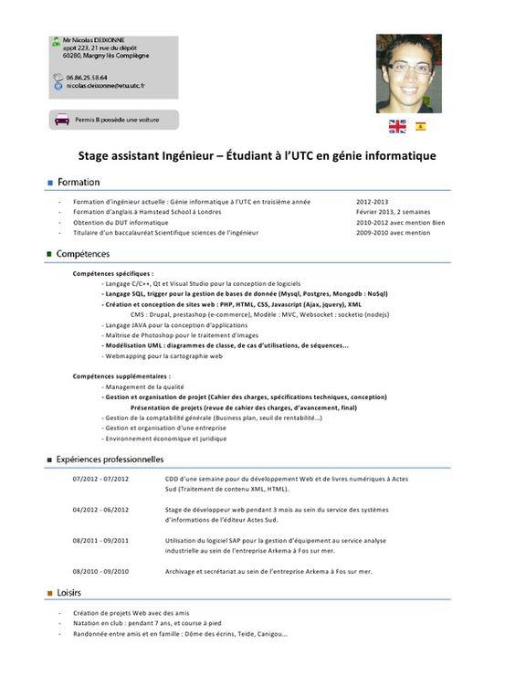 exemple cv ingenieur informatique pdf à imprimer ABDO Pinterest - numeracy coach sample resume