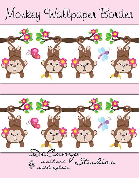 mod pink jungle monkey wallpaper border wall decals for baby girl nursery or childrens safari animal baby nursery cool bee animal