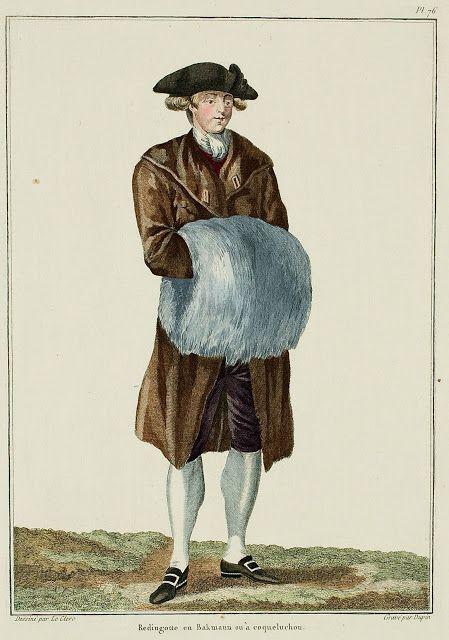 Galerie des Modes, 20e Cahier, 3e Figure  Redingote en Bakmann or hooded. (1779)