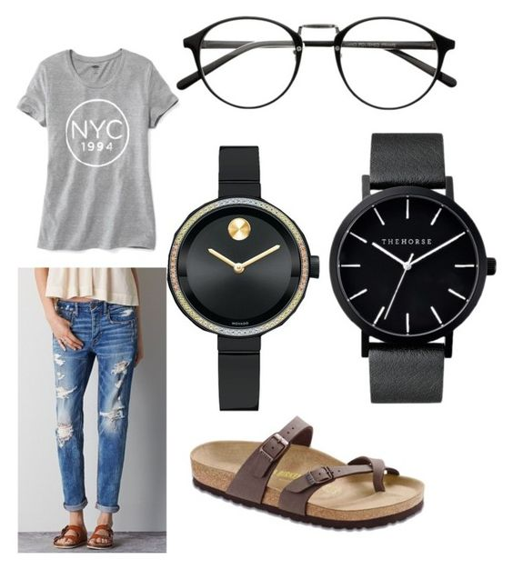 """Watch"" by jessica-runkle ❤ liked on Polyvore featuring American Eagle Outfitters, Birkenstock, The Horse, Movado and Old Navy"