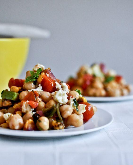 Roasted Summertime Chickpea Salad | howsweeteats.com