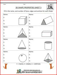 Printables Free Printable Geometry Worksheets math 3d shape properties and children on pinterest here you will find our selection of free printable geometry worksheets for graders there are a range to help identify le