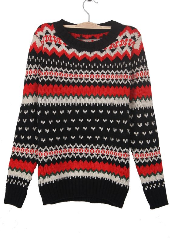 Black Zigzag Striped Geometric Pattern Jumper Sweater
