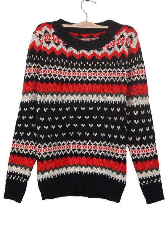 Black Zigzag Striped Geometric Pattern Jumper Sweater