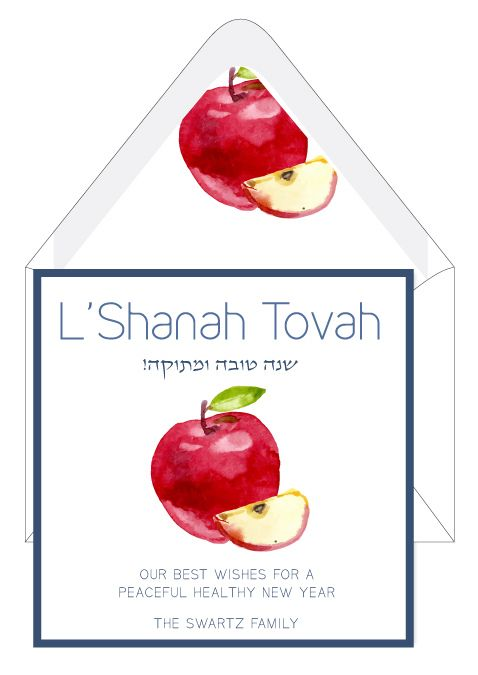 Shinny Apple Wishes In Navy Jewish New Year Card With L Shanah