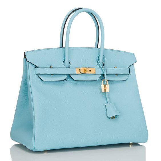 Hermes 35cm Birkin Blue Atoll Leather Bag Gold Hardware