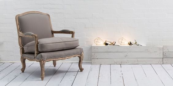 Swoon Editions Armchair, French style Lille in Putty Grey - £329