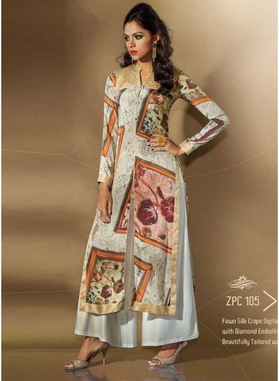 Digital Printed Fawn Silk Daimond Embellishment Pakistani Suit