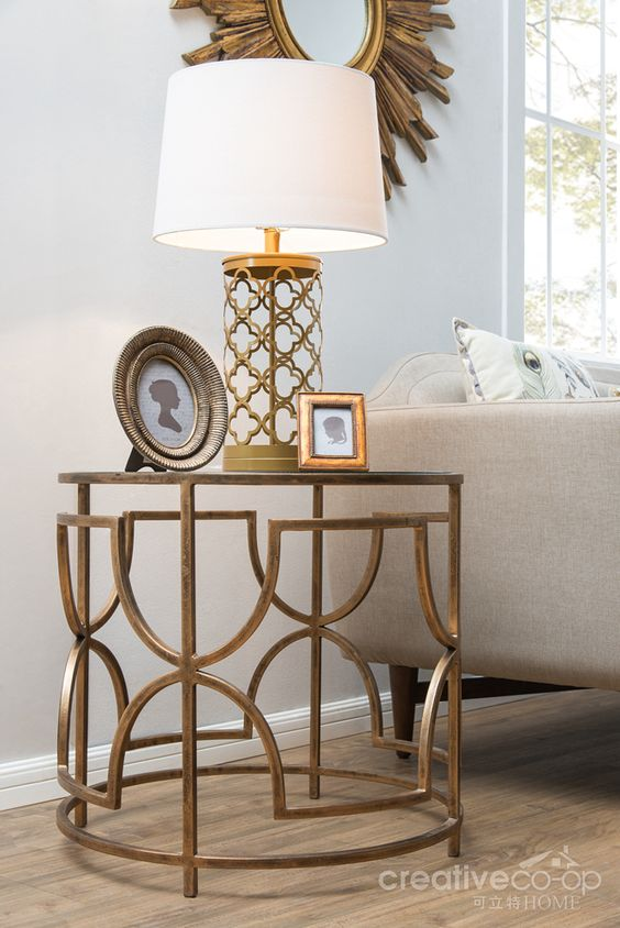 Bohemian Sofia Antique Brass Metal & Glass Round Side Table ...