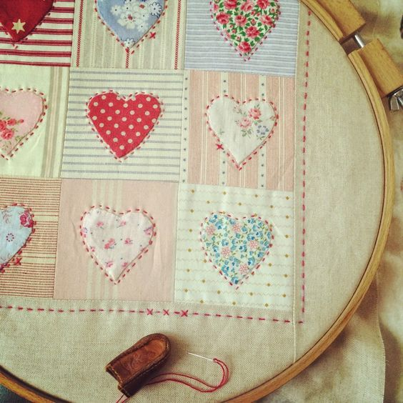 Sweet hand appliqued and quilted cushion @ HenHouse