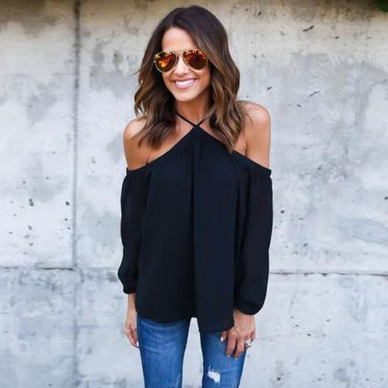"""Literally - the perfect top. You will feel like an """"instant babe"""" the moment it grazes your shoulders. Pair with aviators, dangling earrings, and ripped jeans for your new favorite outfit! Effortless, chic Black, blue, pink, aqua green Off the shoulder blouse"""