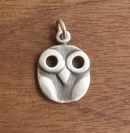 Sterling silver owl Pendant Charm Necklace by TheSilverWhale, $10.50