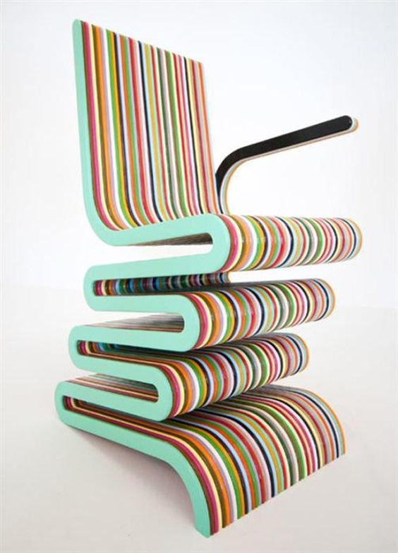 Cozy and Colorful Striped Chair with Lacquered Beech Wood via homeinterior-tips... แนวดีสีสวยด้วย