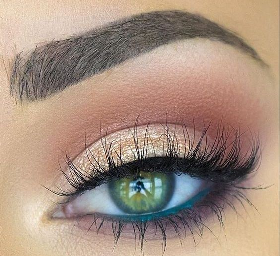 Gold Glitter And Blue Line Nice Eye Makeup Ladystyle With