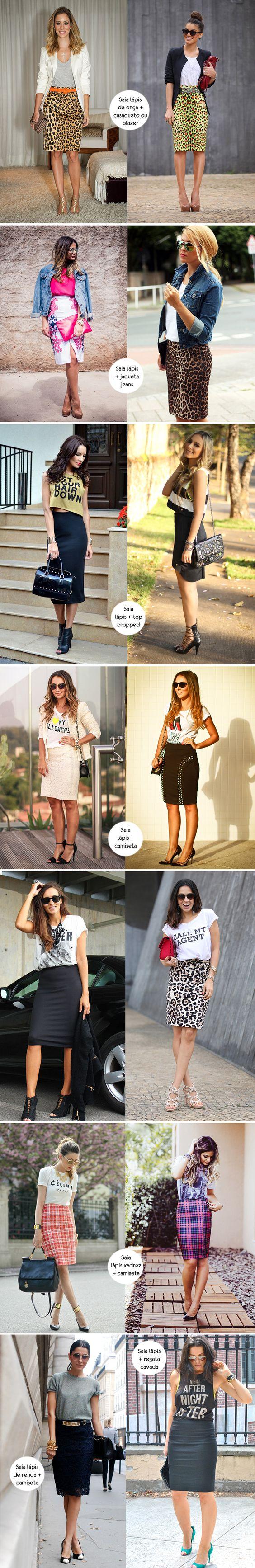 SAIA DE ONÇAS Look para inspirar, como usar, saia lápis, pencil skirt, estampa de onça, camiseta, camisa: