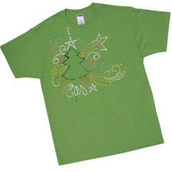 This shirt epitomizes the hustle and bustle associated with the holiday season, yet symbolizes its beauty at the same time. Decorate your own colorful tree T-shirt for a unique gift for a friend or yourself.