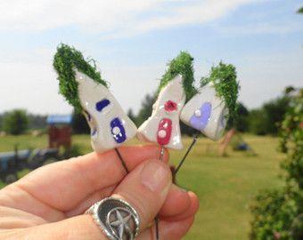 wonderful set of 4 miniature gnome houses  fairy garden planter patio