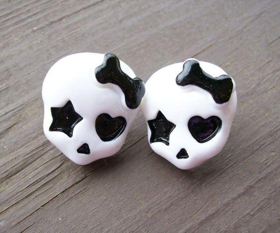Cute skull Monster High inspired post earrings by JinxyJewels, $3.50