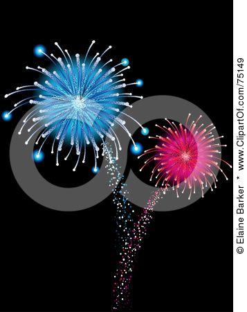 And Exploding Blue Pink Fireworks On Black By Elaine Barker 75149