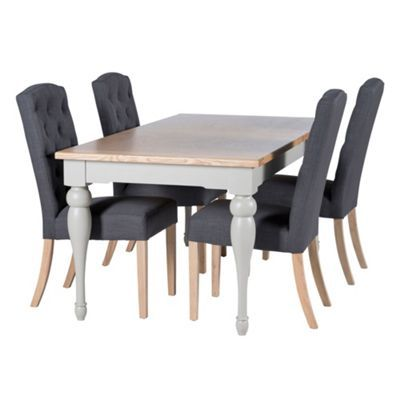 Willis & Gambier Oak and painted 'Worcester' small extending table and 4 charcoal grey 'Stanza' chairs- at Debenhams.com