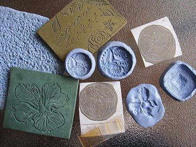 Tutorial: Adding textures into clay with things around the house: lace, spoons, paper punches - I want to try this.