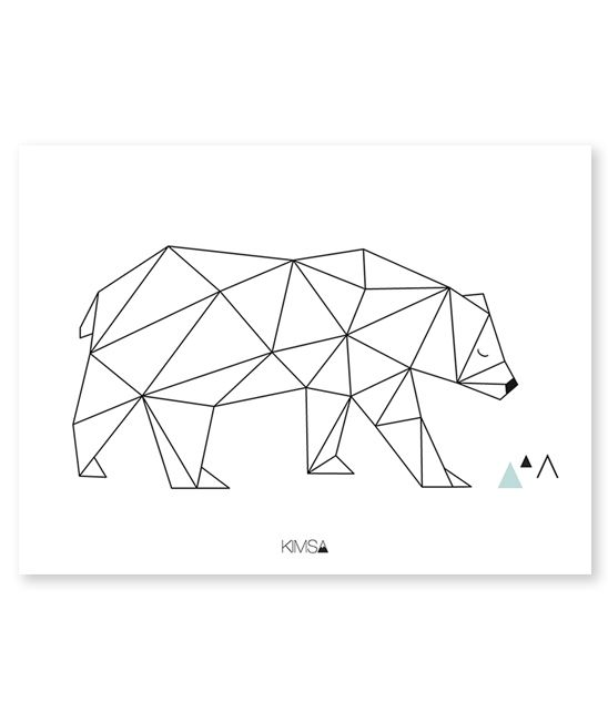 Affiche g om trique ours art prints pinterest ps for Dessin geometrique sur mur