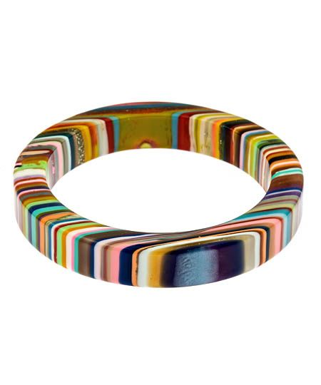 Pop Art Resin Bangle by R. Sobral: Made in brazil of recycled polyester resin. WANT!