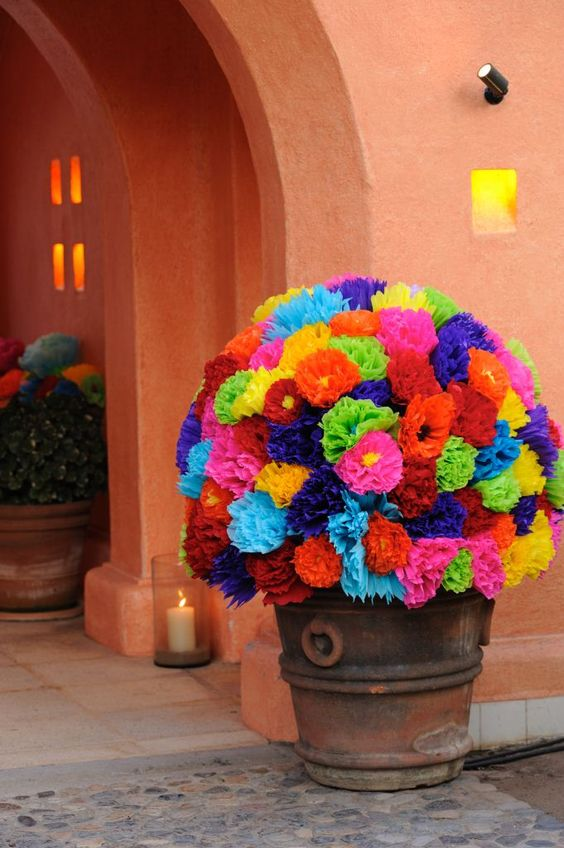 Colorful paper flowers at entrance of the Caballerizas.  Produced and designed by Marianne Weiman Nelson, Special Occasions Event Planning