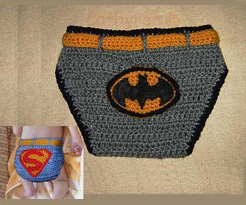 Crochet Batman and Superman Diaper/Soaker cover Photo prop by Cathy Ren
