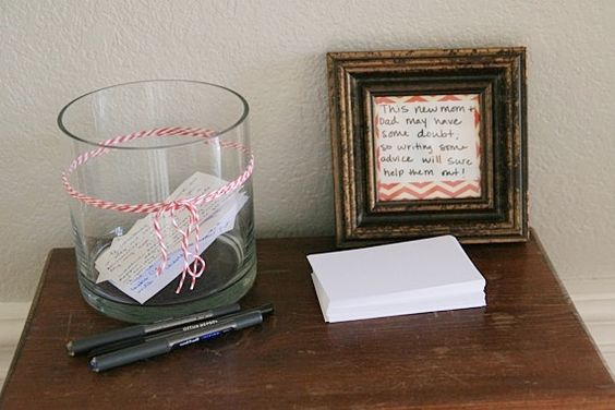 "Have guests write down their best parenting advice for the new mom and dad-to-be at the baby shower.   ""This new mom and dad may have some doubt, so writing some advice will sure help them out!"" 