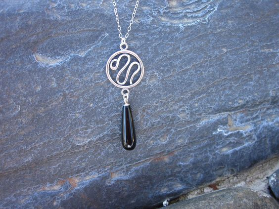 Sterling Silver & Black Onyx Swirl Earrings by DesignsByLoneWolf on Etsy