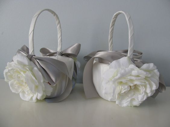 Satin Flower Girl Baskets Set of 2  Shown Ivory with Open White Roses and Gray Ribbon. $57,00, via Etsy.