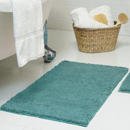 Bounce Comfort Chenille Plush Shag Bath Mat, Blue