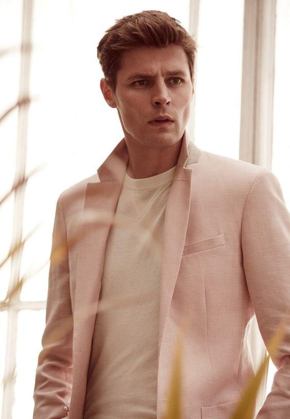Adrian Wlodarski wears pink Tate B jacket, and Princeton tee from Reiss.