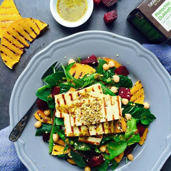 Haloumi, beetroot, pumpkin salad