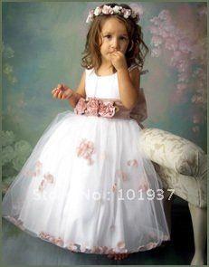 custom made hot sell girls party dresses lovely sash bow white flower girl dresses for weddings by dhl $88.81