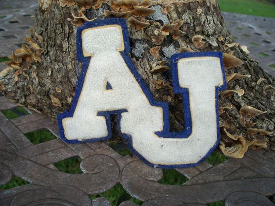 AJ Blue and White Letterman Jacket High School Patch by TheRustyChicken on Etsy