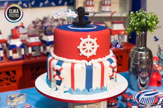 Detalhe Decoração para Festa no Tema Navy / Marinheiro - Linda opção para Festa Infantil, principalmente de meninos  Bolo Fake Incrível do Tema Navy / Marinheiro