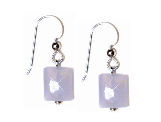 Blue Chalcedony Gemstone Argentium Silver Earrings
