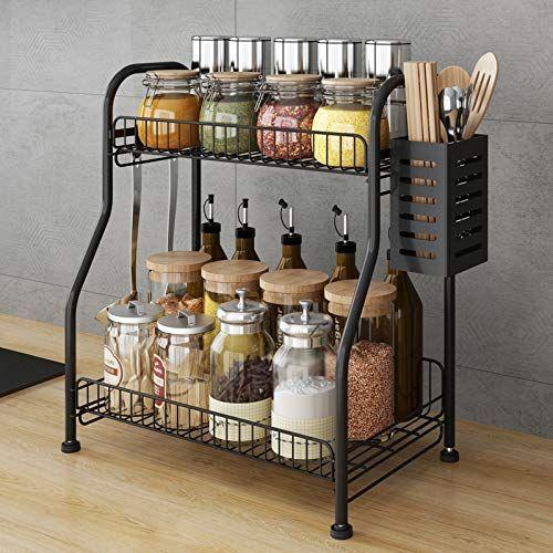 Spice Rack Organizer With Cutlery Chopsticks Storage Shelf 2 Tier Bathkitchen Rack Organizer For In 2020 Spice Rack Organiser Kitchen Rack Bathroom Shelf Organization