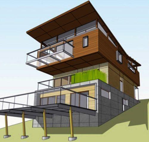 Casas en pendientes planos buscar con google casa en - Casas en pendiente ...