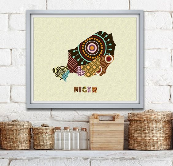 Niger Map Art Print Wall Decor, Niger Poster African Art Print, Niamey Niger West Africa, African Map Poster AVAILABLE @ $15