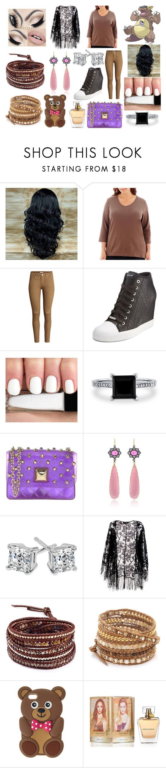"""#115 Kangaskhan Theme"" by kitty-styles-horan-biedka ❤ liked on Polyvore featuring beauty, St. John's Bay, H&M, DKNY, BERRICLE, Hervê Guyel, Pussycat, Chan Luu and plus size clothing"