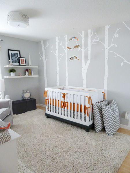 Grey And Tangerine Modern Woodland Inspired Nursery