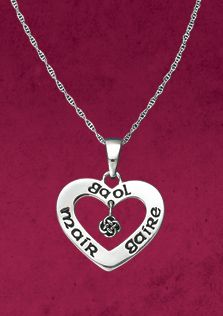 "Gaelic Heart Pendant:  ""Mair Gaire Gaol"" - Scots Gaelic for ""Live, Laugh, Love"" - advice to take to heart. Sentiment is engraved on a silver heart, a wee eternal knot dancing in the middle."