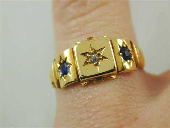 GORGEOUS ART DECO 18CT GOLD DIAMOND & SAPPHIRE RING CIRCA 1920s SIZE O 1/2 3.6g