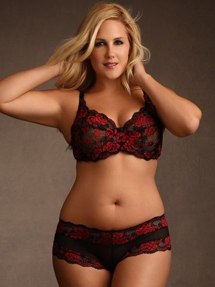 Plus Size Cheeky Lace Panty, Red & Black